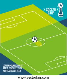 Soccer court 2020 with ball vector design