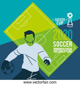 Soccer goalkeeper player man with ball in front of court vector design