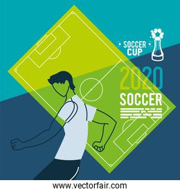 Soccer player in front of court vector design