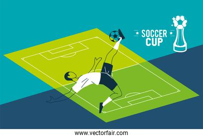 Soccer player man with ball in front of court vector design