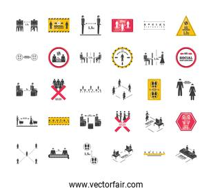 set of icons social distancing, risk of infection coronavirus or covid 19