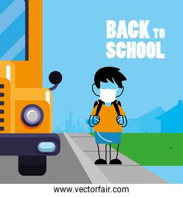 boy with face mask back to school