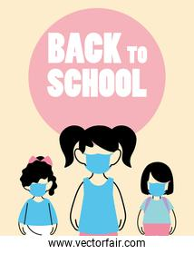 children with face mask back to school
