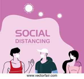 people with masks in social distancing