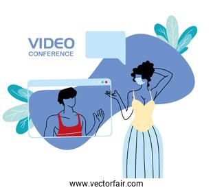 young couple on video conference