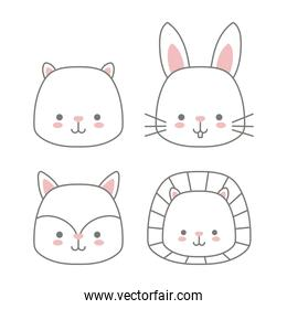 set of icons animals baby kawaii on white background