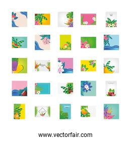 set of templates summer with flowers, fruits and symbols of summer