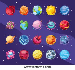 fantastic planets set of icons