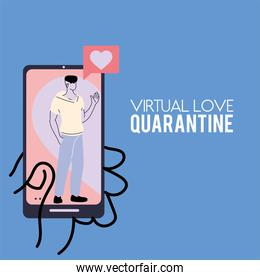 couple in love on the smartphone screen in quarantine times