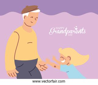 Grandfather with granddaughter of happy grandparents day vector design