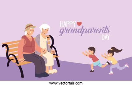 Grandmother and grandfather with grandchildren of happy grandparents day vector design