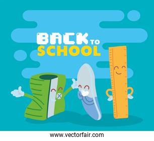 sharpener eraser and ruler cartoon of back to school vector design