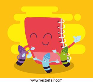 notebook and crayons cartoons of back to school vector design