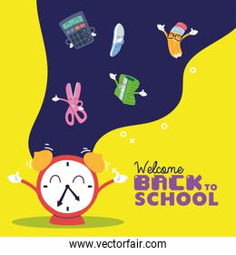 clock and icon set cartoons of back to school vector design