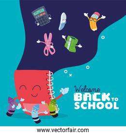 notebook and icon set cartoons of back to school vector design