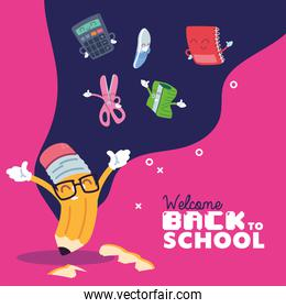 pencil and icon set cartoons of back to school vector design