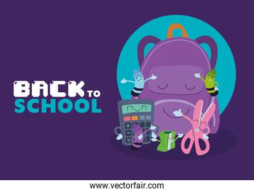 bag and icon set cartoons of back to school vector design