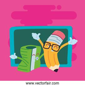pencil and sharpener cartoon of back to school vector design