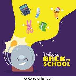 alarm and icon set cartoons of back to school vector design