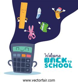 calculator and icon set cartoons of back to school vector design