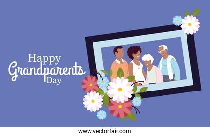 Grandmother grandfather daughter and son in frame with flowers vector design