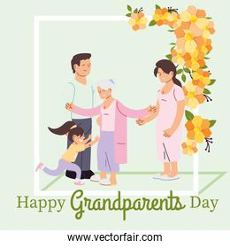 Grandmother parents and granddaughter with flowers vector design