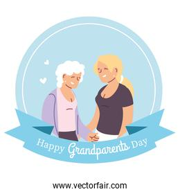 Grandmother and daughter of happy grandparents day vector design