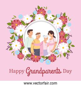 Grandmother grandfather daughter and son with flowers vector design