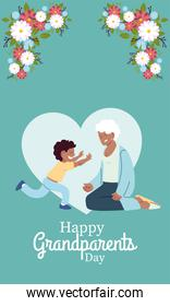Grandmother and grandson with flowers vector design