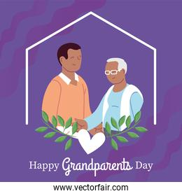 Grandfather and son of happy grandparents day vector design