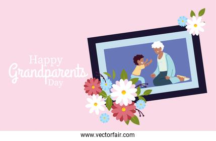 Grandmother and grandson in frame with flowers vector design