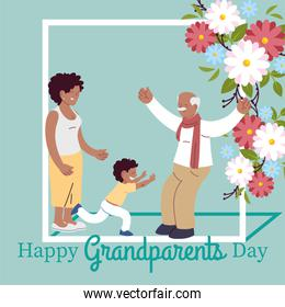 Grandfather day card and daughter with grandson vector design