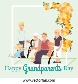 Grandmother grandfather parents and granddaughter with flowers vector design