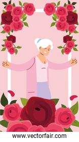 Grandmother in frame with roses vector design
