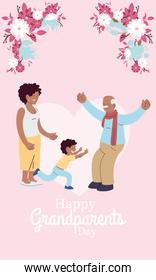 Grandfather daughter and grandson with flowers vector design