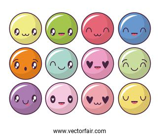 set of icons with expression circles kawaii style, emoticon
