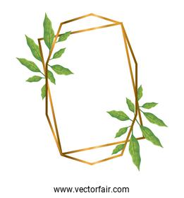 geometric polygonal frames with golden lines and leaves