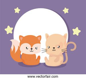 cartoon of animales with decor, cute card