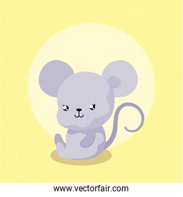 cartoon of mouse with frame circular