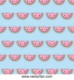 pattern with sliced watermelon, patch style