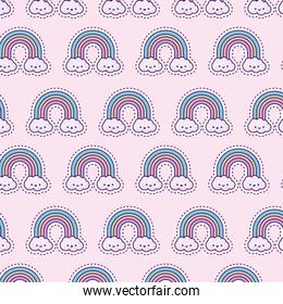 pattern with rainbow and clouds, patches style