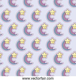 pattern with rainbow and star, patch style