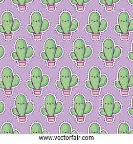 pattern with cactus tropical, patch style