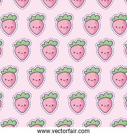 pattern with strawberries, patch style