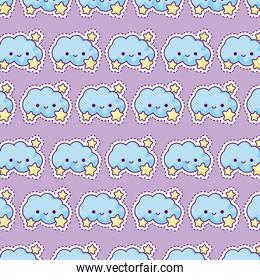 pattern of clouds and stars, patch style