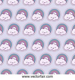 pattern with rainbow and clouds, patch style