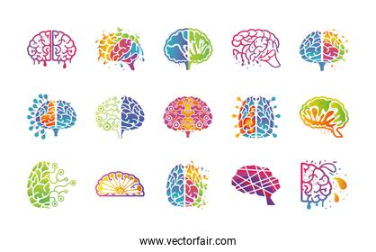 brain thinking and design set of icons