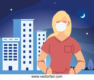 Woman doctor with medical mask in front of hospital building vector design