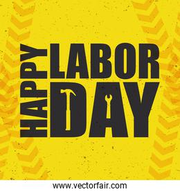 happy labor day celebration with hammer and wrench tools