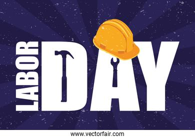 happy labor day celebration with helmet and lettering